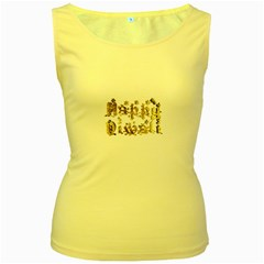 Happy Diwali Gold Golden Stars Star Festival Of Lights Deepavali Typography Women s Yellow Tank Top