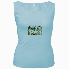 Happy Diwali Gold Golden Stars Star Festival Of Lights Deepavali Typography Women s Baby Blue Tank Top