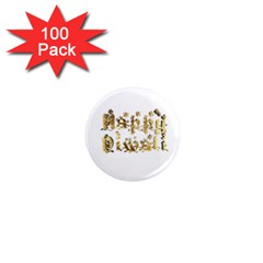 Happy Diwali Gold Golden Stars Star Festival Of Lights Deepavali Typography 1  Mini Magnets (100 Pack)