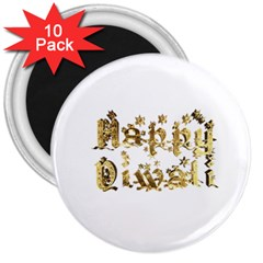 Happy Diwali Gold Golden Stars Star Festival Of Lights Deepavali Typography 3  Magnets (10 Pack)
