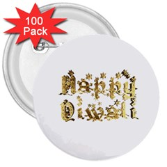 Happy Diwali Gold Golden Stars Star Festival Of Lights Deepavali Typography 3  Buttons (100 Pack)
