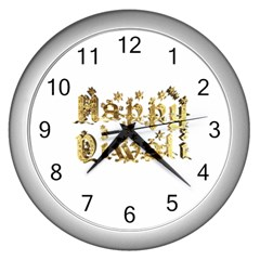 Happy Diwali Gold Golden Stars Star Festival Of Lights Deepavali Typography Wall Clocks (silver)