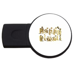 Happy Diwali Gold Golden Stars Star Festival Of Lights Deepavali Typography Usb Flash Drive Round (2 Gb)
