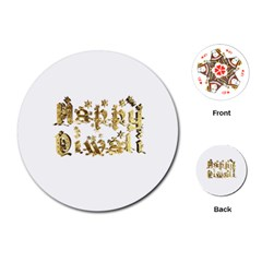 Happy Diwali Gold Golden Stars Star Festival Of Lights Deepavali Typography Playing Cards (round)