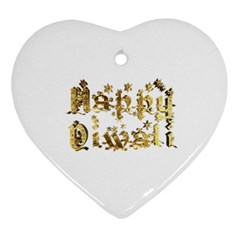 Happy Diwali Gold Golden Stars Star Festival Of Lights Deepavali Typography Ornament (heart)