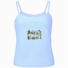 Happy Diwali Gold Golden Stars Star Festival Of Lights Deepavali Typography Baby Blue Spaghetti Tank