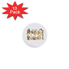 Happy Diwali Gold Golden Stars Star Festival Of Lights Deepavali Typography 1  Mini Buttons (10 Pack)