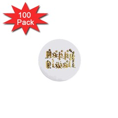Happy Diwali Gold Golden Stars Star Festival Of Lights Deepavali Typography 1  Mini Buttons (100 Pack)