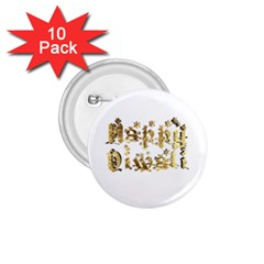 Happy Diwali Gold Golden Stars Star Festival Of Lights Deepavali Typography 1 75  Buttons (10 Pack)