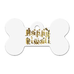 Happy Diwali Gold Golden Stars Star Festival Of Lights Deepavali Typography Dog Tag Bone (one Side)