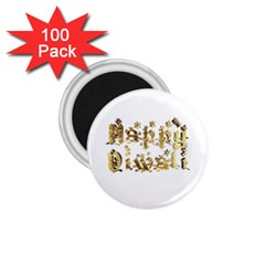 Happy Diwali Gold Golden Stars Star Festival Of Lights Deepavali Typography 1 75  Magnets (100 Pack)