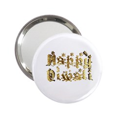 Happy Diwali Gold Golden Stars Star Festival Of Lights Deepavali Typography 2 25  Handbag Mirrors