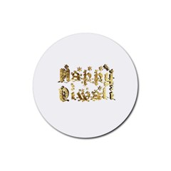 Happy Diwali Gold Golden Stars Star Festival Of Lights Deepavali Typography Rubber Round Coaster (4 Pack)