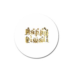 Happy Diwali Gold Golden Stars Star Festival Of Lights Deepavali Typography Magnet 3  (round)