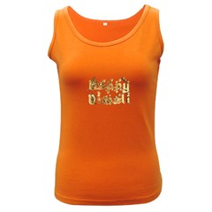 Happy Diwali Gold Golden Stars Star Festival Of Lights Deepavali Typography Women s Dark Tank Top