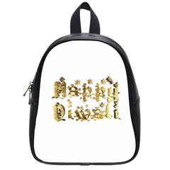 Happy Diwali Gold Golden Stars Star Festival Of Lights Deepavali Typography School Bag (small)