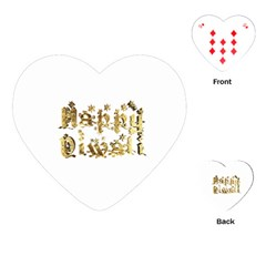 Happy Diwali Gold Golden Stars Star Festival Of Lights Deepavali Typography Playing Cards (heart)