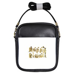 Happy Diwali Gold Golden Stars Star Festival Of Lights Deepavali Typography Girls Sling Bags