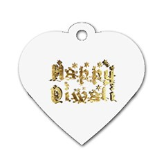 Happy Diwali Gold Golden Stars Star Festival Of Lights Deepavali Typography Dog Tag Heart (one Side)