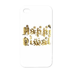 Happy Diwali Gold Golden Stars Star Festival Of Lights Deepavali Typography Apple Iphone 4 Case (white)