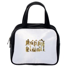 Happy Diwali Gold Golden Stars Star Festival Of Lights Deepavali Typography Classic Handbags (one Side)