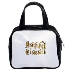Happy Diwali Gold Golden Stars Star Festival Of Lights Deepavali Typography Classic Handbags (2 Sides)