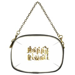 Happy Diwali Gold Golden Stars Star Festival Of Lights Deepavali Typography Chain Purses (one Side)