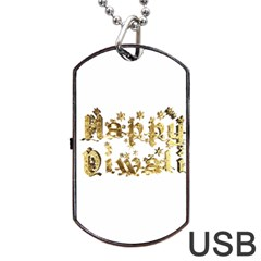 Happy Diwali Gold Golden Stars Star Festival Of Lights Deepavali Typography Dog Tag Usb Flash (two Sides)