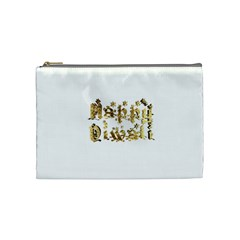Happy Diwali Gold Golden Stars Star Festival Of Lights Deepavali Typography Cosmetic Bag (medium)