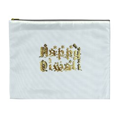 Happy Diwali Gold Golden Stars Star Festival Of Lights Deepavali Typography Cosmetic Bag (xl)