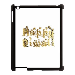 Happy Diwali Gold Golden Stars Star Festival Of Lights Deepavali Typography Apple Ipad 3/4 Case (black)
