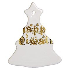 Happy Diwali Gold Golden Stars Star Festival Of Lights Deepavali Typography Christmas Tree Ornament (two Sides)