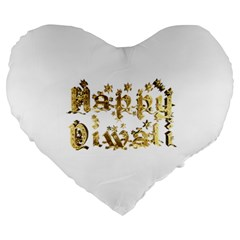 Happy Diwali Gold Golden Stars Star Festival Of Lights Deepavali Typography Large 19  Premium Heart Shape Cushions
