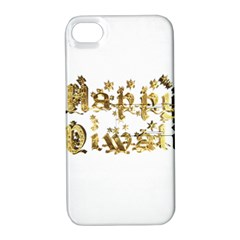 Happy Diwali Gold Golden Stars Star Festival Of Lights Deepavali Typography Apple Iphone 4/4s Hardshell Case With Stand