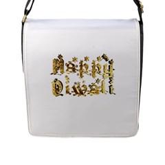 Happy Diwali Gold Golden Stars Star Festival Of Lights Deepavali Typography Flap Messenger Bag (l)
