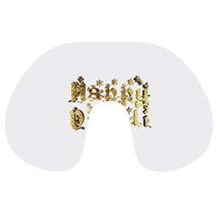 Happy Diwali Gold Golden Stars Star Festival Of Lights Deepavali Typography Travel Neck Pillows