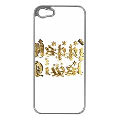 Happy Diwali Gold Golden Stars Star Festival Of Lights Deepavali Typography Apple Iphone 5 Case (silver)