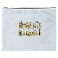 Happy Diwali Gold Golden Stars Star Festival Of Lights Deepavali Typography Cosmetic Bag (xxxl)