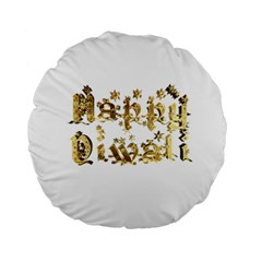 Happy Diwali Gold Golden Stars Star Festival Of Lights Deepavali Typography Standard 15  Premium Round Cushions