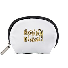 Happy Diwali Gold Golden Stars Star Festival Of Lights Deepavali Typography Accessory Pouches (small)