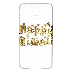 Happy Diwali Gold Golden Stars Star Festival Of Lights Deepavali Typography Samsung Galaxy S5 Back Case (white)