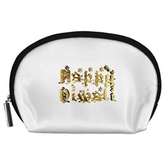 Happy Diwali Gold Golden Stars Star Festival Of Lights Deepavali Typography Accessory Pouches (large)