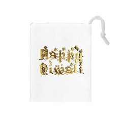 Happy Diwali Gold Golden Stars Star Festival Of Lights Deepavali Typography Drawstring Pouches (medium)