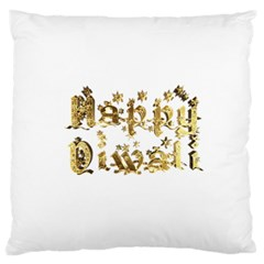 Happy Diwali Gold Golden Stars Star Festival Of Lights Deepavali Typography Large Flano Cushion Case (two Sides)