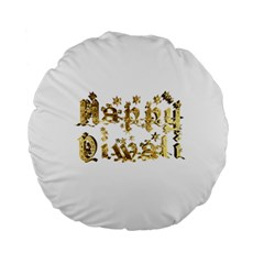 Happy Diwali Gold Golden Stars Star Festival Of Lights Deepavali Typography Standard 15  Premium Flano Round Cushions