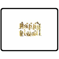 Happy Diwali Gold Golden Stars Star Festival Of Lights Deepavali Typography Double Sided Fleece Blanket (large)