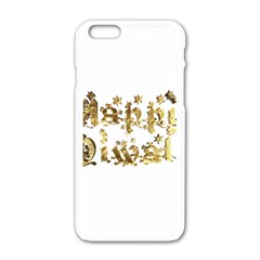 Happy Diwali Gold Golden Stars Star Festival Of Lights Deepavali Typography Apple Iphone 6/6s White Enamel Case