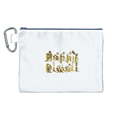 Happy Diwali Gold Golden Stars Star Festival Of Lights Deepavali Typography Canvas Cosmetic Bag (l)