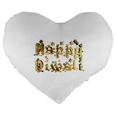 Happy Diwali Gold Golden Stars Star Festival Of Lights Deepavali Typography Large 19  Premium Flano Heart Shape Cushions