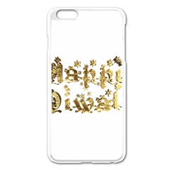 Happy Diwali Gold Golden Stars Star Festival Of Lights Deepavali Typography Apple Iphone 6 Plus/6s Plus Enamel White Case